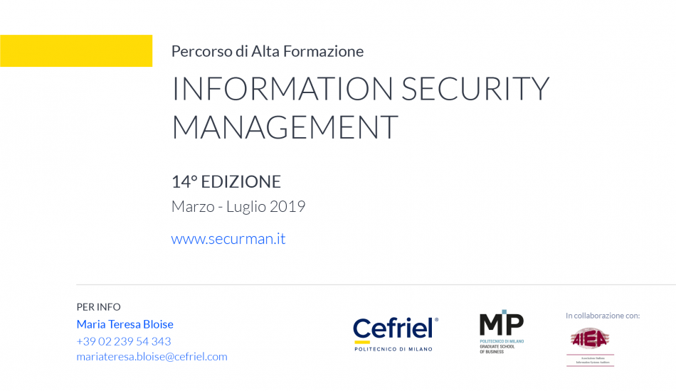 Information Security Management  Marzo-Luglio 2019 Cefriel MP